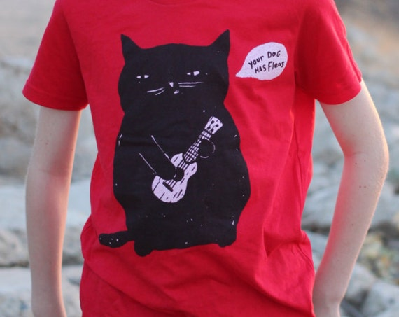 Ukulele T-shirt for kids - Ukulele Cat t-shirt - Children's Cat t-shirt - Red 100% Cotton Responsibly Sourced