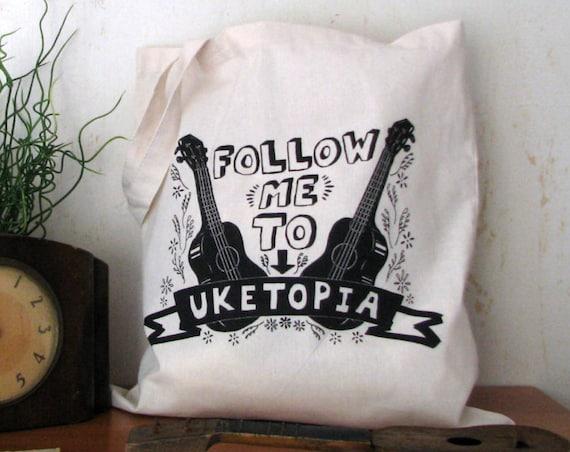 Ukulele Tote Tote: Follow Me To Uketopia - Natural Canvas