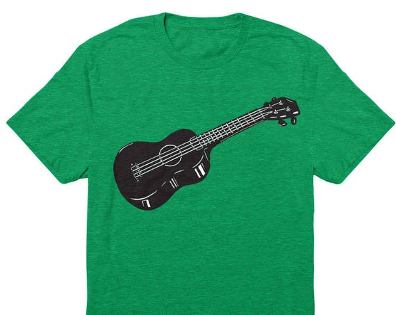 FINAL SALE: Ukulele T-Shirt - Unisex Ukulele Purest Heather Kelly Green