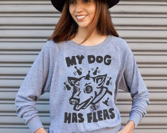 Ukulele T-Shirt - Dog T-shirt - My Dog Has Fleas - Gray Women's Long Sleeve Shirt
