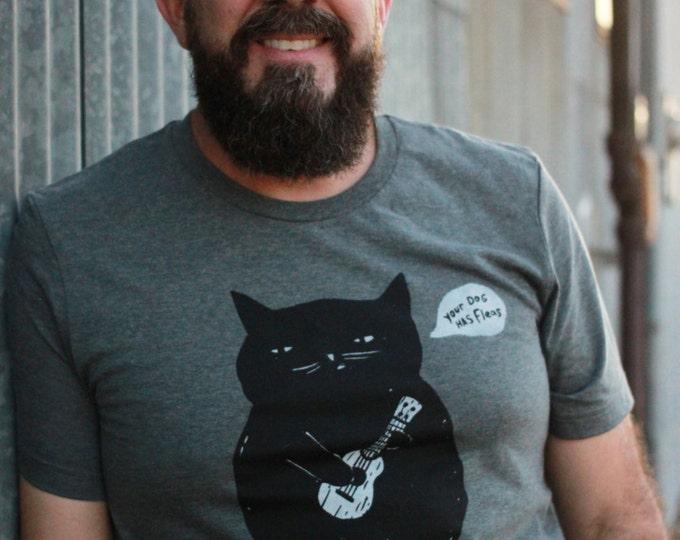 Featured listing image: Ukulele T-shirt - Ukulele Cat t-shirt - Cat t-shirt - Unisex Dark Heather Gray T-shirt - Ukulele Cat Responsibly Sourced Tees//Slimmer fit