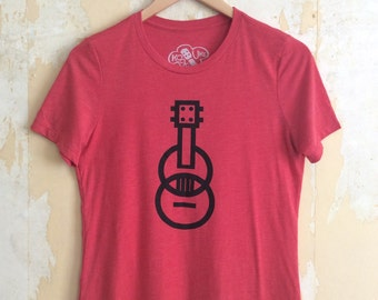 Ukulele T-shirt - Modern Ukulele t-shirt - Women's t-shirt - Red T-shirt Tri-Blend Relaxed Fit and Responsibly