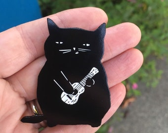 Ukulele Cat Enamel Pin, Uke Cat Pin, Gift for Ukulele Lovers, Gift for Cat Lovers