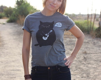 Ukulele T-shirt - Ukulele Cat t-shirt - Cat t-shirt - Unisex Dark Heather Gray T-shirt - Ukulele Cat Responsibly Sourced Tees//Slimmer fit