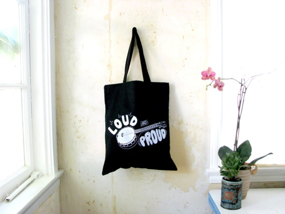 Banjo Ukulele Tote Tote: Banjolele Loud and Proud - Black Canvas