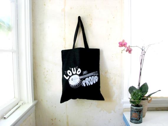 Banjo Ukulele Tote Tote: Banjolele Loud and Proud - Black Canvas