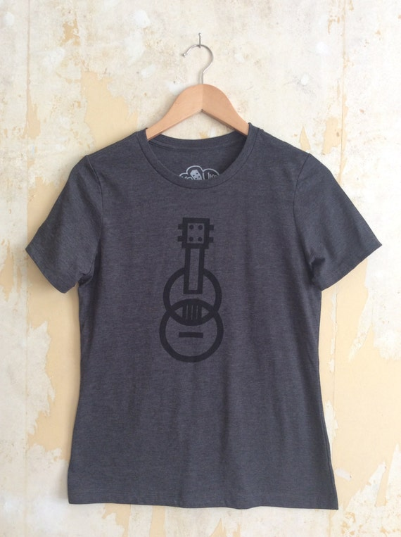 Ukulele T-shirt - Modern Ukulele t-shirt - Women's t-shirt - Dark Gray T-shirt Tri-Blend Relaxed Fit and Responsibly