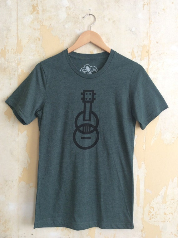 Ukulele T-shirt - Modern Ukulele - Unisex Heather Green T-shirt - Responsibly Sourced Tees//Slimmer fit