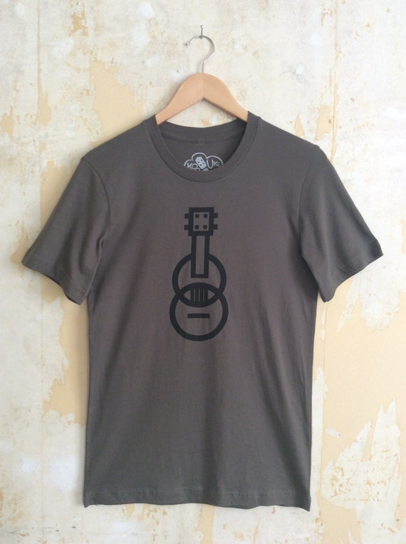 Ukulele T-shirt - Modern Ukulele - 100% Cotton Army Green T-shirt - Responsibly Sourced Tees//Slimmer fit
