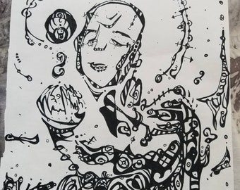 In the balance / I am ready to uncover - Original 8 x 10 Abstract Ink Drawing - Questions , Energies, Animals , Esoteric