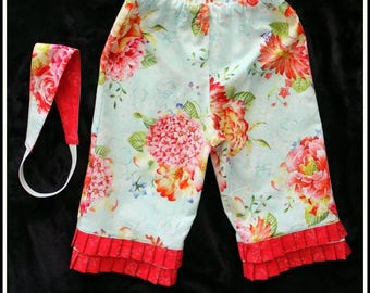 Toddler girl ruffle pants / Girls capri pants with matching headband / Toddler Girls pants size 3, 4 years / matching swing top available