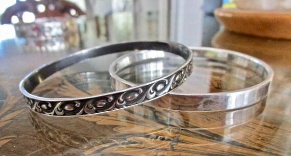 SALE Vintage Patterned Sterling Bangle Bracelet