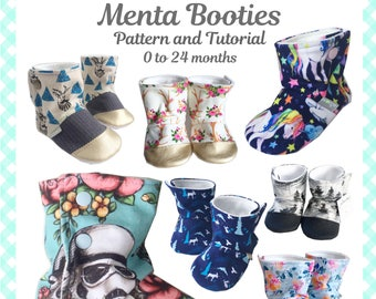 Baby Menta Booties PDF Sewing Pattern and Tutorial NB to 24 months, 6 sizes