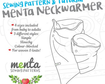 Menta Neckwarmer Baby To Adult Simple Slouchy And Colour Blocked Sewing Pattern Tutorial