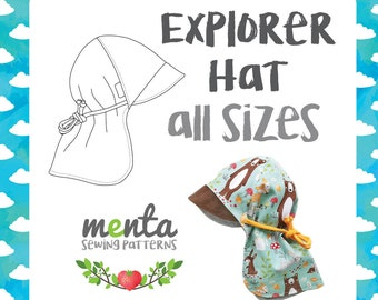 Menta Explorer all seasons hat sunhat brim neck cover PDF handmade sewing pattern and tutorial DIY projector file kid clothing