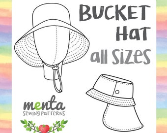 Menta Bucket Hat sewing pattern tutorial, summer winter, knit woven, all season all sizes, all styles included PDF ebook instructions