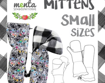 SMALL Overall Menta Mittens DIY Tutorial and Sewing Pattern Ebook gloves thumb and thumbless all in one Scratch Mittens knit and woven