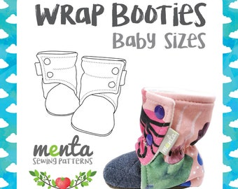 Menta Wrap Booties Baby sizes DIY Tutorial and sewing pattern ebook slippers shoes booties soft soles PDF projector file