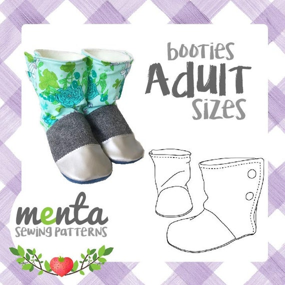 Adult Menta Booties Slippers Boots PDF Sewing Pattern and | Etsy