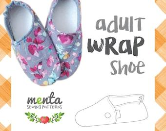 New Menta Wrap Shoe Adult Sizes diy ebook PDF sewing pattern slippers booties