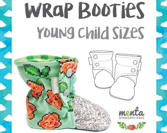 Menta Wrap Booties Young Child sizes sewing pattern and tutorial DIY slippers PDF ebook