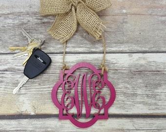 "Car Charm - Car Monogram - Rear View Mirror Monogram - 4.5"" Painted Monogram with Burlap Bow"