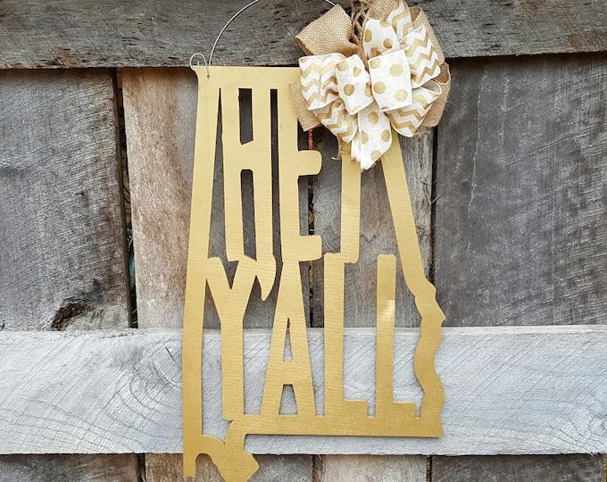Hey Y'all Door Hanger - Alabama Door Hanger - State Shape Wreath - Southern Door Decor - Southern Saying - Wall Hanging - Wedding Gift