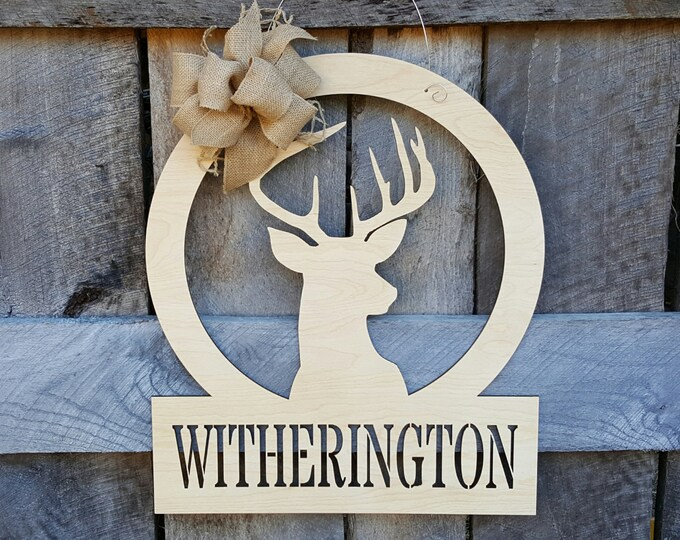 Personalized Deer Door Hanger - Deer Wall Hanging - Hunting Decor - Gift