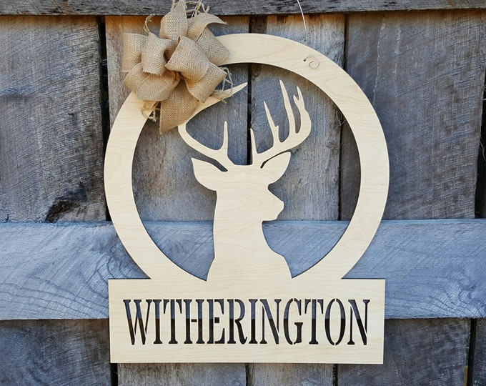 Deer Door Hanger - Painted Hunter Door Decor - Buck Wall Hanging - Wedding Gift - Housewarming Gift - Personalized Gift
