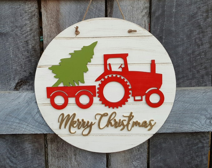 Merry Christmas Wreath - Tractor Christmas Door Hanger - Rustic - Farm - Country Christmas Decor