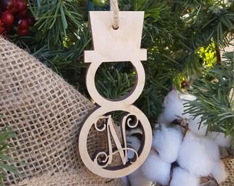 Wooden Ornament - Initial Ornament - Christmas Ornament - Snowman Ornament