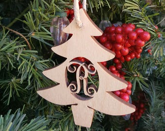 Wooden Ornament - Initial Ornament - Christmas Ornament - Christmas Tree Ornament - Rustic Ornament