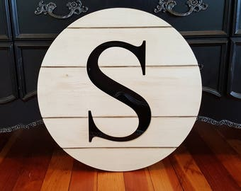 Shiplap Letter Round - Shiplap Wooden Sign - Farmhouse - Shiplap Letter - Distressed Wood Initial