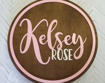 Round Name Sign - Nursery Wall Hanging - Painted Name Sign - Name Round - Wooden Name Sign - Bedroom Decor - Nursery Decor - Kids