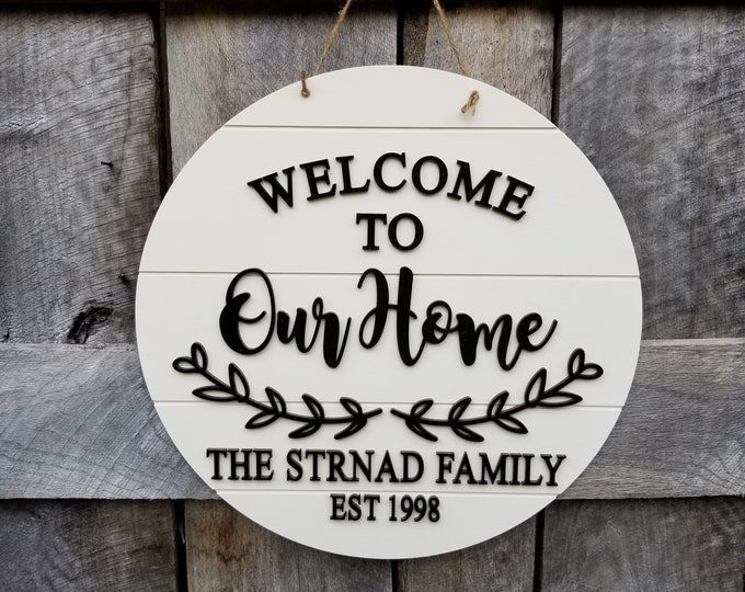Personalized Welcome Sign - Wooden Welcome To Our Home Wall Hanging - Custom Welcome Sign - Shiplap Sign - Farmhouse Decor - Wall Hanging