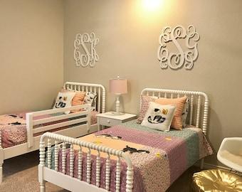 Painted Bedroom Wall Hanging - Wooden Wall Monogram - Dorm Room Monogram - Initials for Wall - Nursery - Dorm Room - Couple's Monogram