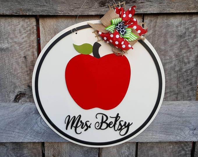 Teacher Door Hanger - Classroom Wall Hanging - Gift For Teacher - Apple Wreath