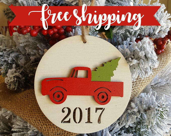 FREE SHIPPING - Red Christmas Truck Ornament - 2017 Christmas Tree Ornament - Family Christmas Ornament - Ornament Gift - Under 20