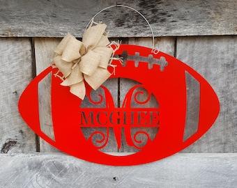Personalized Football Door Hanger - Football Door Decor - Football Wreath - Sports Decor - Team - Personalized Wooden Sign
