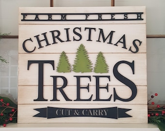 Christmas Tree Farm Sign - Farmhouse Christmas Sign - Rustic Christmas Decor - Designed to Prop or Lean for Display