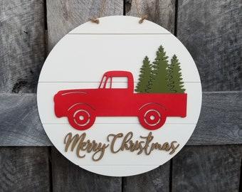 Merry Christmas Door Hanger - Christmas Truck Wreath - Red Truck Christmas Sign - Wooden Merry Christmas Sign