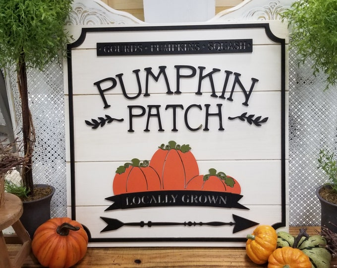 Pumpkin Patch Sign - Fall Decor - Wooden Shiplap Pumpkin Patch Sign - Farmhouse Sign - Fall Sign
