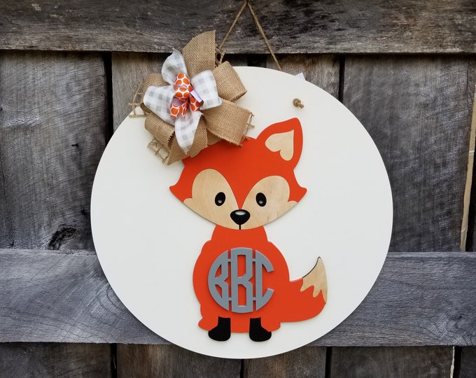 Fox Baby Door Hanger - Woodland Nursery Sign - Woodland Animal Hospital Door Hanger - Woodland Decor - Forest Animals Door Hanger