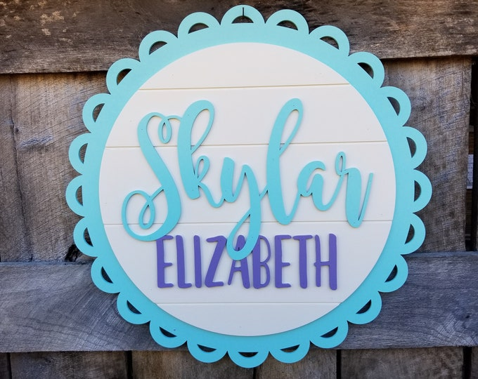 Baby Name Sign - Nursery Name Wall Hanging - Baby Girl - Wooden Name Sign - Circle - Round - Shiplap Wall Sign - Above The Crib Name Sign