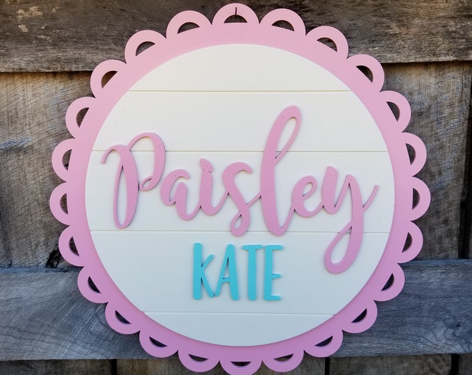 Girl Name Nursery Sign - Wooden Circle Name Sign - Custom Baby Sign -  Baby Girl Sign - Baby Shower Gift - Shiplap Name Sign