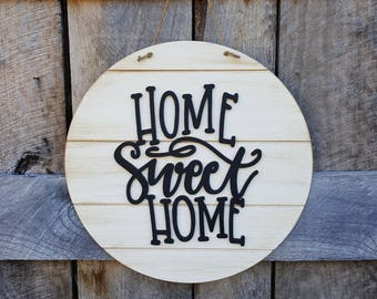 Home Sweet Home - Wooden Sign - Door Hanger - Wreath - Wall Hanging - Shiplap Sign - Farmhouse Sign