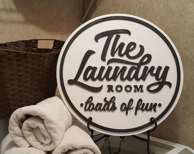 Laundry Room Sign - Loads of Fun - Wooden Sign - Farmhouse Sign
