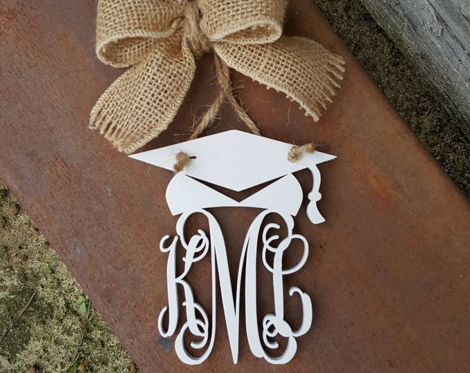 "Car Charm - Graduation Cap - Car Monogram - Rear View Mirror Monogram - 4.5"" Painted Monogram with Burlap Bow - Circle Border"