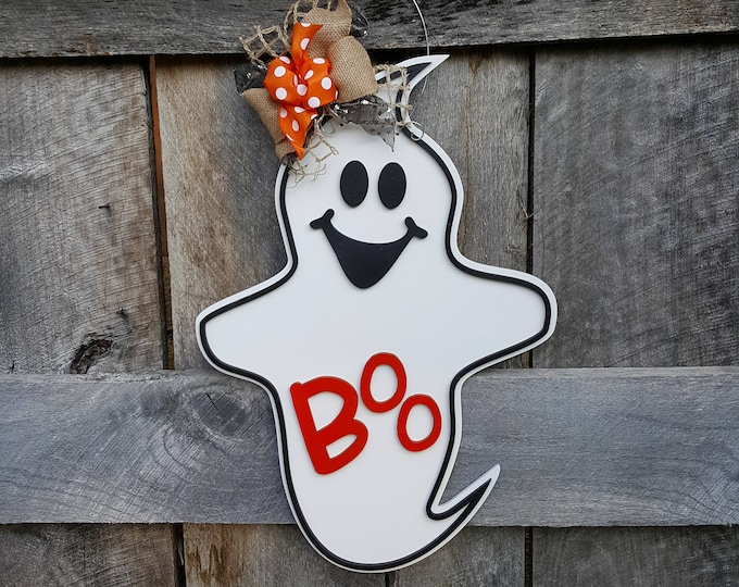 Halloween Door Hanger - Halloween Wreath - Ghost Wall Hanging - Porch Sign