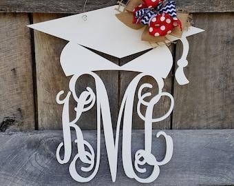 Graduation Door Hanger - Painted Graduation Wreath - Personalized Graduation Party Decor - Monogram Door Hanger